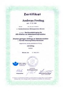 TRGS 519 Zertifikat / Andreas Freitag