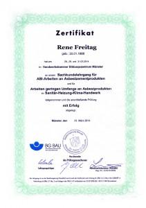 TRGS 519 Zertifikat / Rene Freitag